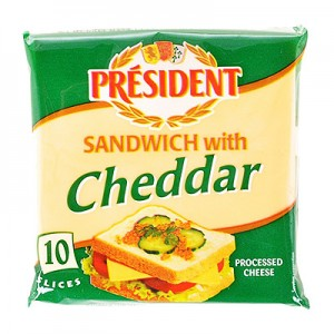 Sūris CHEDDAR lydytas President Cheddar 18 %,  120 g