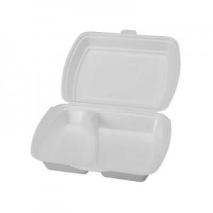 Biodėžutė maistui išsinešti, 2 skyrių  (25 cm x 16,2 cm x 6,3 cm), 50 vnt